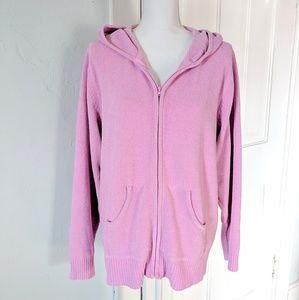 Denim & Co Zip Hoodie XL Pink Lilac Chenille Soft
